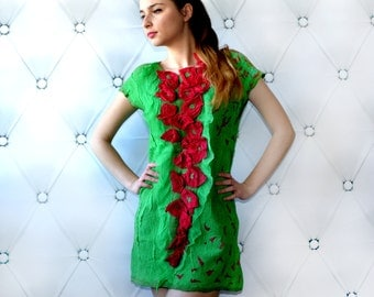 Handmade Nuno felted dress tunic, green red poppy, silk and wool ,everyday, spring fashion, size M medium, OOAK