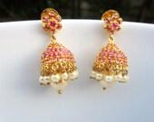Ruby Jhumkas, South Indian Jumkis, Ruby Jumkis, Indian Jewelry, Traditional Jhumkas
