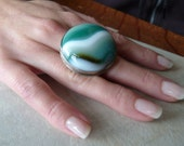 Bold Statement Ring, Green and White Onyx Agate, Artisan Silver Green Gemstone
