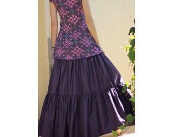 Long Gypsy Skirt - Tiered Maxi Skirt - Plus size skirt - Boho Bohemian skirt -  Summer skirt - Purple skirt - Size S/M L/XL XXL XXXL Tall
