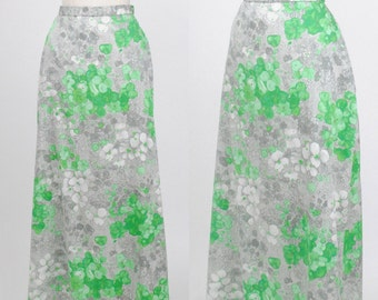 Vintage 1980s / Monet Grey and Green Floral Silk Skirt  / Size Small/Medium