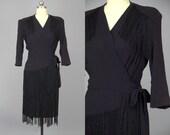 1940s Fringe Jet Black Rayon Avant Garde Tassel Dress