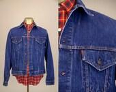 70s Levis Big E Trucker Jacket Indigo Dark Denim 71205 0217 Ranch Hand Two Pocket Jean Jacket