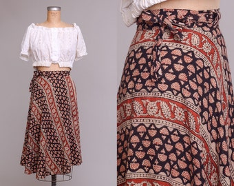 70s Indian Cotton Hand Blocked IRAM Bohemian Wrap Skirt