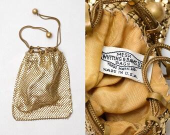 1940s Whiting and Davis Gold Mesh Alumesh Drawstring Handbag Wallet Purse