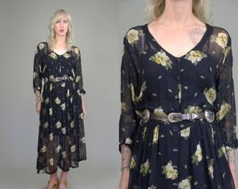 90s Sheer Grunge Dress Black Rayon Yellow Floral Button Down Babydoll Burnout Dress