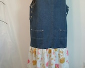 Upcycled Women's Long Denim Jumper Overalls Dress with Flowers