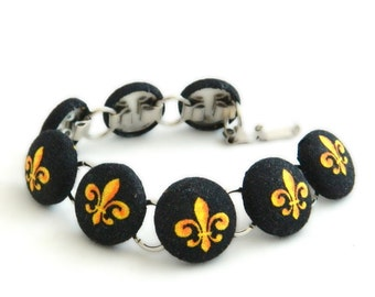 Black and Gold Fleur De Lis  Button Bracelet