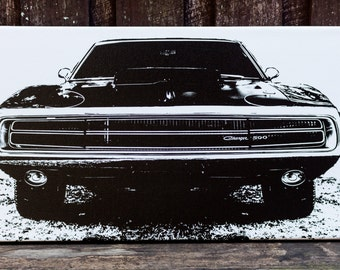 Charger,muscle car,classic cars,black and white photography,print on canvas,gifts for dads,man cave,fathers day,hotrod,shed decor,innerbogan