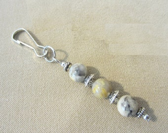 Marbled Agate & Silver Add a Charm, Beaded Jewelry Purse Charm, Beads to Add to a Key-chain, Natural Stone Add on Charms, Zipper Pull Beaded