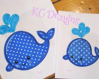 Nautical Whale With Spout Machine Applique Embroidery Design - 4x4, 5x7 & 6x8