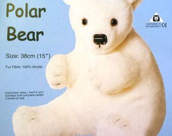 Polar Bear Soft Toy Making Kit - Large Cuddly Craft Fur Fabric - Gift Make Sew - Beginners Sewing