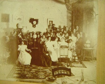 Antique Victorian Mounted Photo - Parlor Gathering - Christmas
