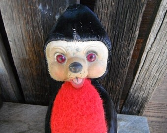 Vintage Rubber Face Plush Teddy Bear Toy - Bowling Pin