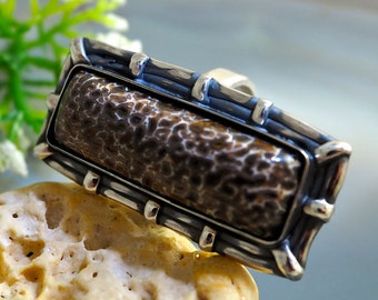 Fossil Ring Dinosaur Bone Statement Ring Sterling Silver Fossil Jewelry