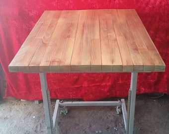 Steampunk Industrial Reclaimed Wood Bistro Table Breakfast Table