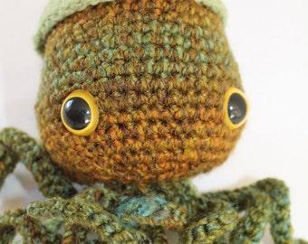 Chubby Stuffed Squid - Kids Toy - Green and Brown Tones - Stuffed Animal - Beach Decor