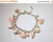 Beach Jewelry - Summer Jewelry - Pink Vintage Lucite Shell Beads with Shell Pearls Bracelet - Handmade Jewelry
