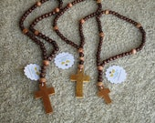 Rosary for Boys, Teens, Men, Earth Colors Wooden Beads