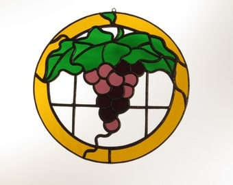Stained Glass Grapes Suncatcher - Price Includes Shipping