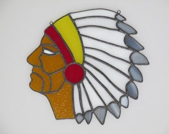 Stained Glass Indian Head Suncatcher