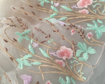 Beautiful Lace Trim with Floral Embroidery , Pink Green Scallop Tulle Lace Trim 30 cm wide