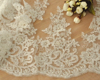 Alencon Lace Trim in Ivory , Beaded Bridal Veil Lace Trim for Wedding Gown, Bridal Dress