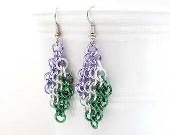 Genderqueer pride earrings, Euro 4 in 1 chainmail earrings; lavender, white, green