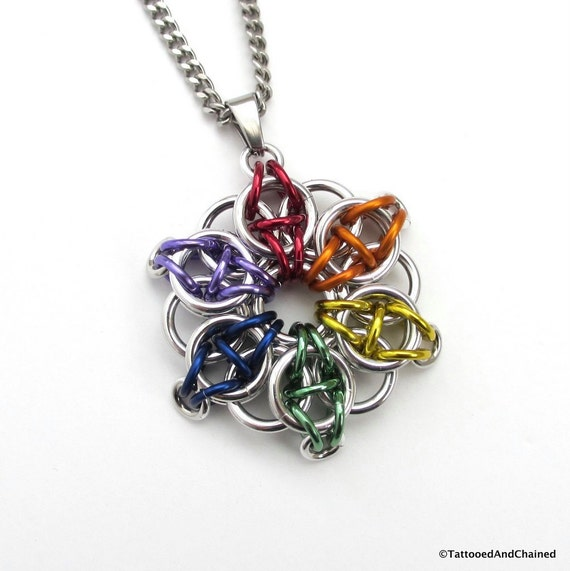 Gay pride pendant, rainbow chainmaille Celtic star, LGBT jewelry