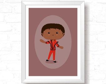 Jacko - Printable Original Illustration, Instant Download, Home Decor, Wall Art, T-shirt graphic, Art Print, Poster Design