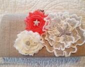 Coral and Ivory Linen Bridal Purse - Starfish Bridal Clutch - Beach Wedding - Tropical Wedding Clutch
