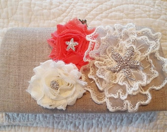 Coral and Ivory Linen Bridal Purse - Starfish Bridal Clutch - Beach Wedding - Tropical Wedding Clutch