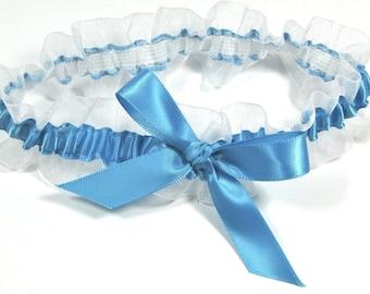 Blue and White Bridal Garter,  Peacock Blue Wedding garter, Toss Garter, Something blue