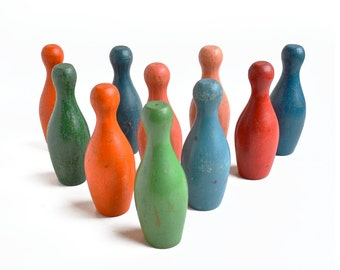 "10 amazing colorful 3 5/8"", small bowling pins, skittles, wooden toy, from Elizabeth Rosen"