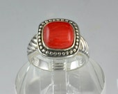 Vintage Statement Ring - 925 Sterling Silver Jewelry - Red Agate Ring - Size 7 Signed GSJ - Mens or Womens Sterling Ring - Red  Accessories