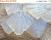 ON SALE Czech Glass Bead Art Deco Fan Crystal Matte AB 17mm Qty 4