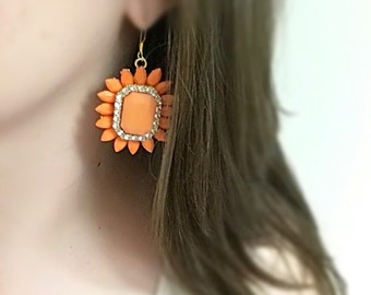 Orange Statement Earrings Set In Gold Bridesmaid Earrings Square Vintage Style