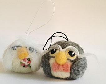 Owl bride and groom ornaments, felted wool owl wedding ornaments