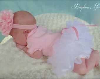 Precious Parley Ray White Chiffon All Around Ruffle Skirt Ruffled Baby Bloomers/ Diaper Cover/ Photo Props