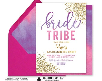 BACHELORETTE PARTY INVITATION Pink Purple Ombre Gold Girls Night Invite Last Fling Before Ring Ready Made Hens Bridal Shower Invite - Rosie