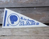 Vintage Football Pennant Los Angeles LA Rams 4x9 Inch 1970s Era NFL Small Mini Felt Pennant Banner Flag Collectible Vintage Display Sports