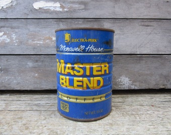 Vintage Tin Coffee Can Master Blend Maxwell House Metal Container Storage Display Country Retro Kitchen Rustic Primitive Vtg Old Tin Can