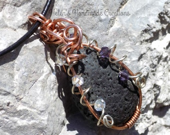 Wire wrapped black lava stone  pendant adjustable leather necklace