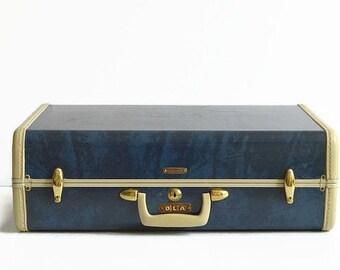 vintage Samsonite suitcase with key marble blue 1950s luggage