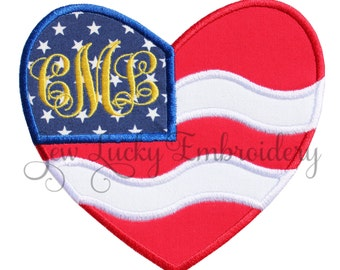 American Flag patch - Flag applique - Flag heart - USA flag patch - Flag Iron on patch - Flag sew on patch - Flag patch - Independence Day