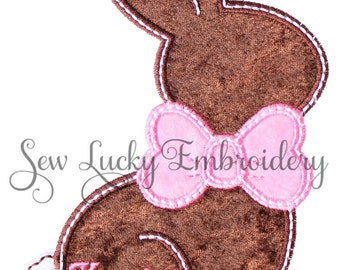 Chocolate Brown Easter Bunny with Personalized Applique Embroidered Patch , Sew or Iron on