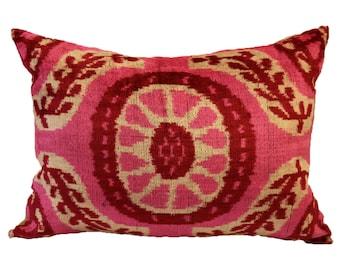 Handmade Velvet Silk Ikat pillow cover Lp320, Bohemian pillow
