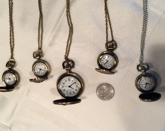 Lot 5 pocketwatch pendants, vintage steampunk style, Eiffel Tower mix