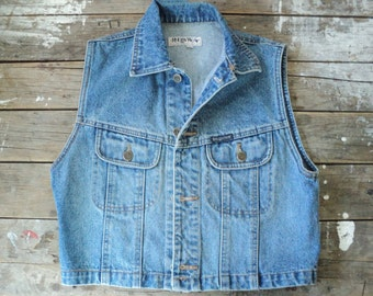 Vintage Denim Vest, button up, sleeveless, Large, woman's, Rough Wear, 1980's, western, country, rodeo