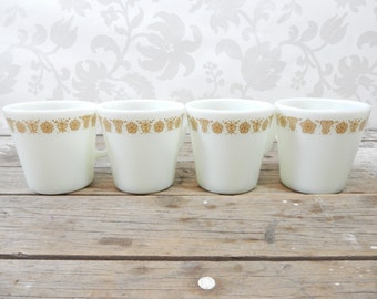 Pyrex Butterfly Gold coffee cups, mugs, corning ware, corelle, milk glass